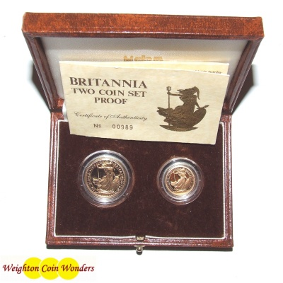 1987 Gold Proof BRITANNIA 2 Coin Set